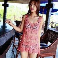 סעידה דה Praia הסארונגים סקסי החוף לחפות בגדי ים בגד ים חלול 2018 נשים קיץ ביקיני Bordados לבן תחרת שמלה אדום