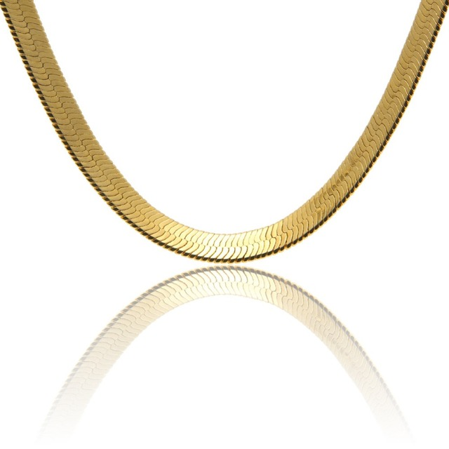 """10mm wide 76cm 30""""  flat snake chain necklace  real yellow gold filled classic men's necklace hip hop fine jewelry"""