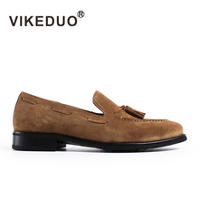 VIKEDUO Brand Luxury Loafers Shoes For Men Genuine Cow Suede Plain Brown Mans Footwear Casual Slip-On Tassel Hiking Male