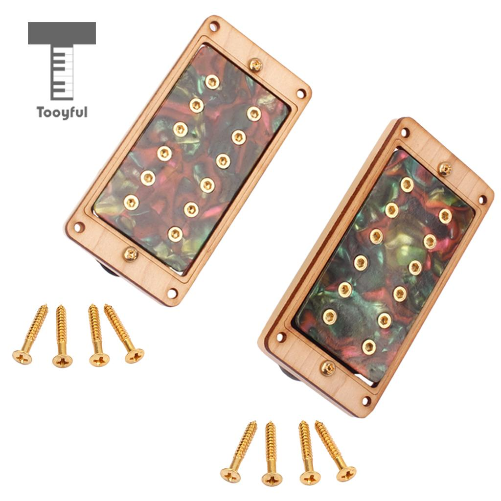 Tooyful 50/52mm Maple Celluloid Electric Guitar Humbucker Pickups with Screw Wrench niko black humbucker double coil pickups 50mm neck 52mm bridge for fender strat sq electric guitar pickups