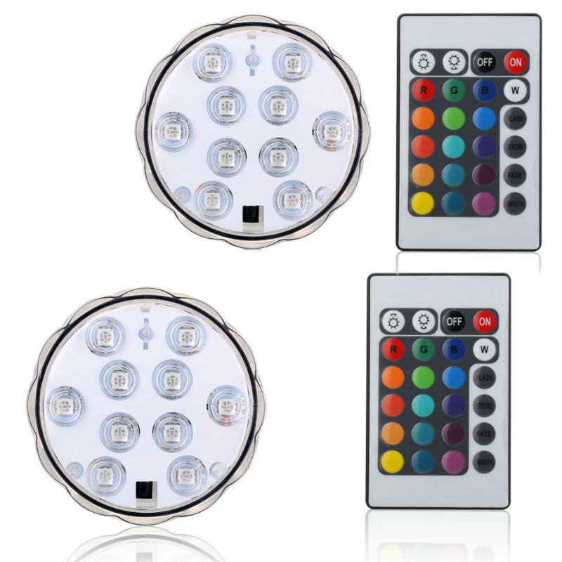 1Pc*10 LED Submersible led light battery opertaed IP68 waterproof underwater swimming pool outdoor wedding party home decor lamp