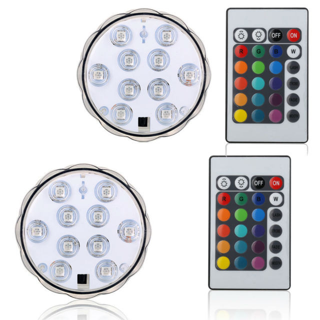 1Pc*10 LED Submersible led light battery opertaed IP68 waterproof ...