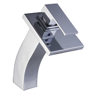 Single Handle Waterfall Bathroom Vanity Sink Faucet with Extra Large Rectangular Spout Chrome Lavatory Mixer Taps