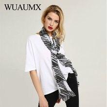 Wuaumx Brand Scarf Women Striped Plaid Scarfs Spring Autumn ladies Hijab Scarves Thin Shawl Wraps Beach Foulard Femme Echarpe