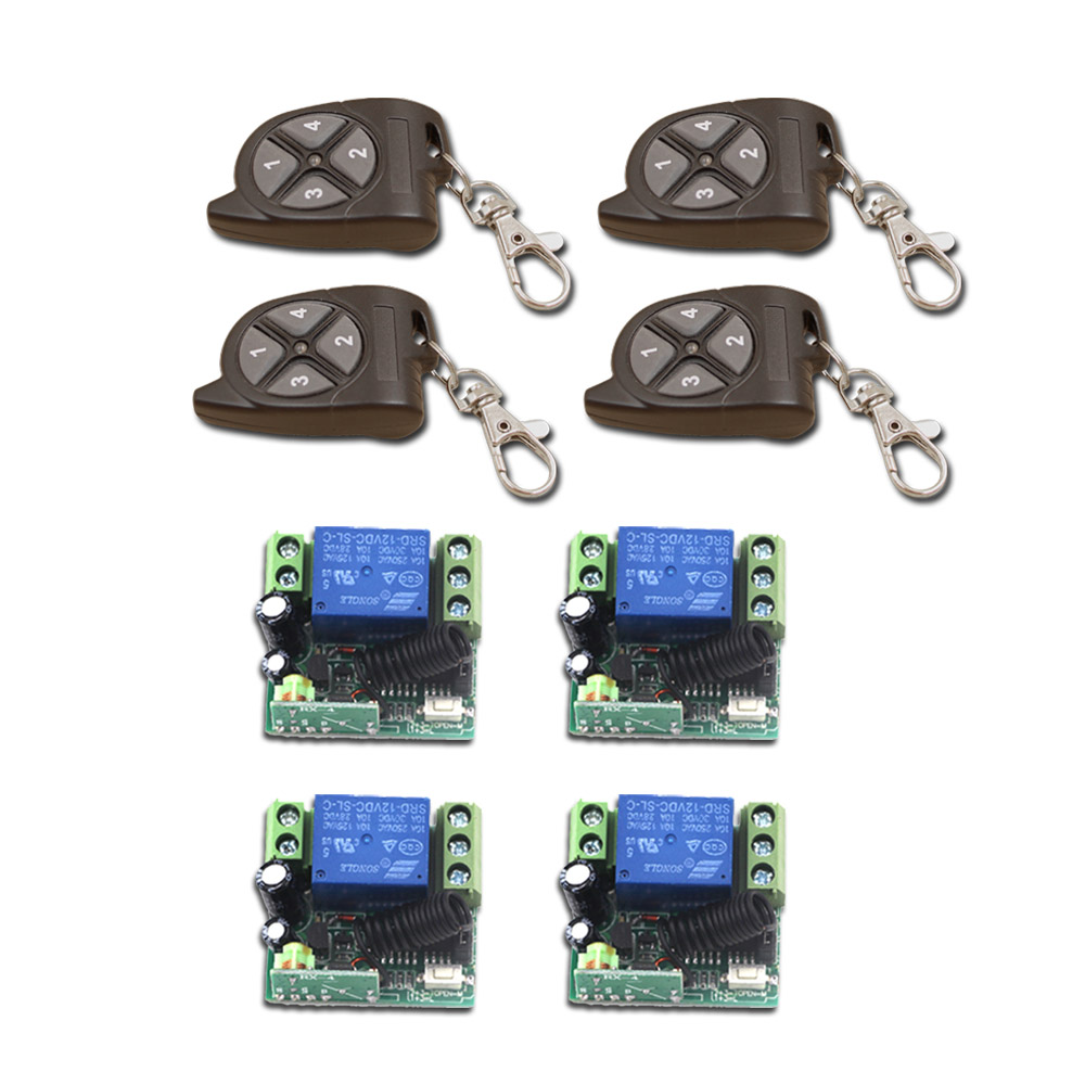 Factory Price 1CH RF Wireless Remote Control Switch System 4Transmitter and 4 Receiver Universal Gate Remote Control Hot Sales wireless pager system 433 92mhz wireless restaurant table buzzer with monitor and watch receiver 3 display 42 call button