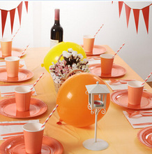 Solid Color Theme Children's Birthday Party Disposable Plate Paper Towel Tablecloth Cutlery Set Bachelorette Party Decoration children s birthday dinosaur cutlery party supplies set paper hat paper cup paper tablecloth gift bag props