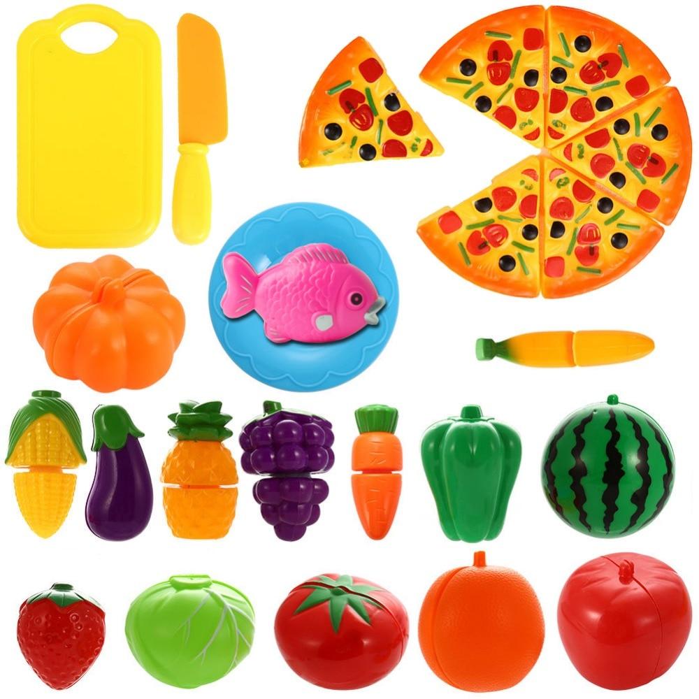 Kids Baby Kitchen Toys Cutting Vegetables Food Fruit Toy Kitchen Set For Girl Children Pretend Play