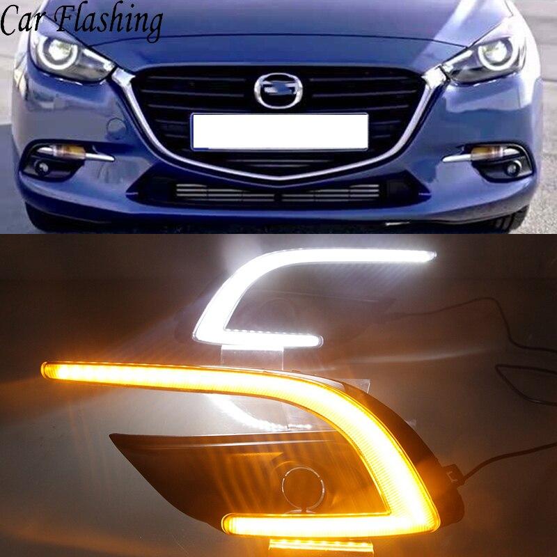 Car Flashing 2pcs Drl For Mazda 3 Mazda3 Axela 2017 2018 Daytime Running Lights Fog Lamp