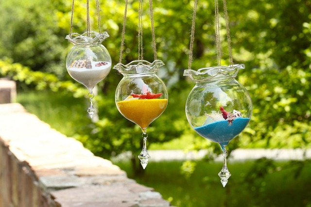 NEW! Beautiful Hanging Glass Ball Vase Fish Tank Aquarium Terrarium Candle holders Wedding Party Garden Home (ONLY Glass )