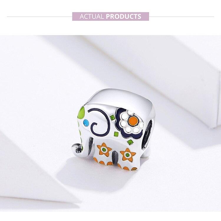 HTB1MbtYXbj1gK0jSZFuq6ArHpXan WOSTU Colorful Happy Elephant Beads Genuine 925 Sterling Silver Charms Fit Original Bracelet Pendant Jewelry Gift CTC095