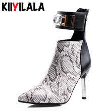 Kiiyilala Snake printing Women Boots With Zippers Super High Heels Boots 2019 Winter Shoes Pointed Toe Women Ankle Boots Shoes kiiyilala pointed toe sexy high heels ankle boots for women autumn spring fashion boots with rivets thin heels short boots shoes