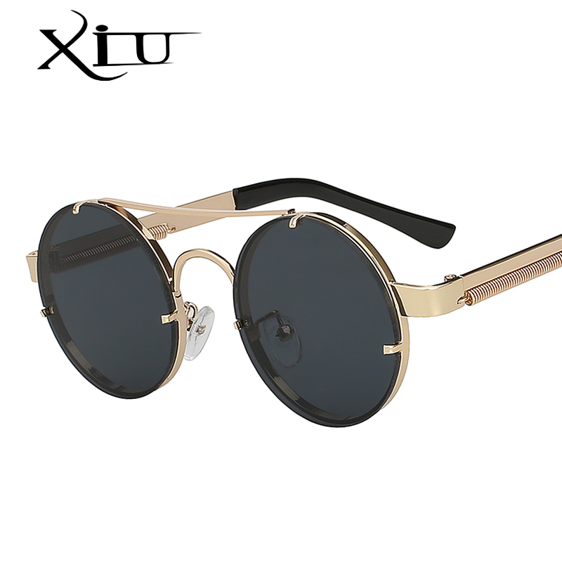 XIU Steampunk Sunglasses Men Women Round Metal Sunglass Doub