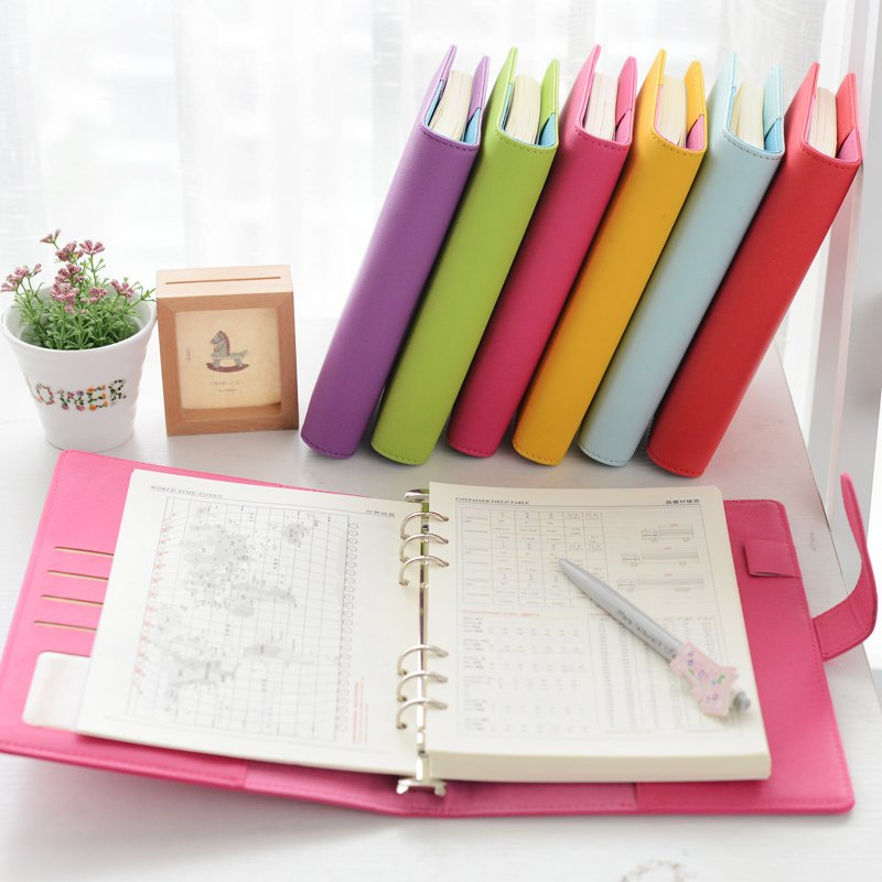 ᗛkorean Candy Color Leather Cute Plan Schedule Notebook A5