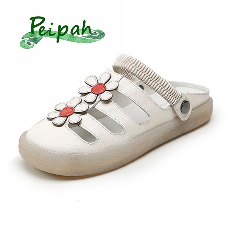 PEIPAH vache en cuir fait à la main femmes pantoufles d'été gelée chaussures chaussures chaussures femme chaussures tongs sandales chaussures
