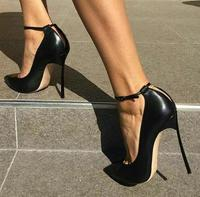 Black Smooth Leather Women Pointed Toe Ankle Buckle Pumps Deep V Back Ladies Blade Heel Shoes Spring Fashion Female Dress Shoes