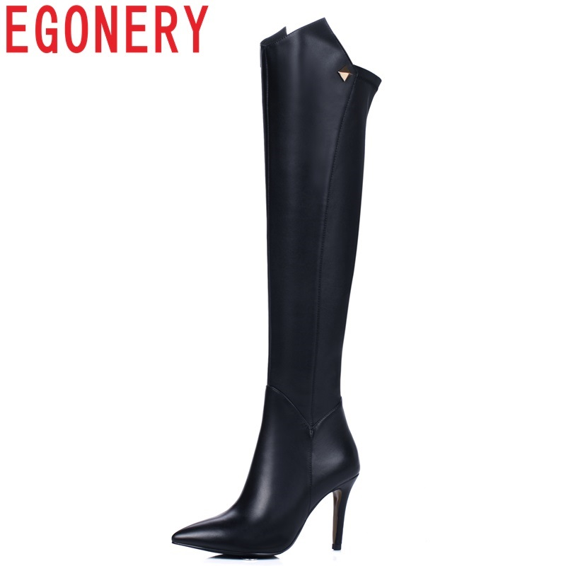EGONERY new fashion sexy pointed toe high quality genuine leather party over knee boots super high thin heels zip women shoes цена 2017