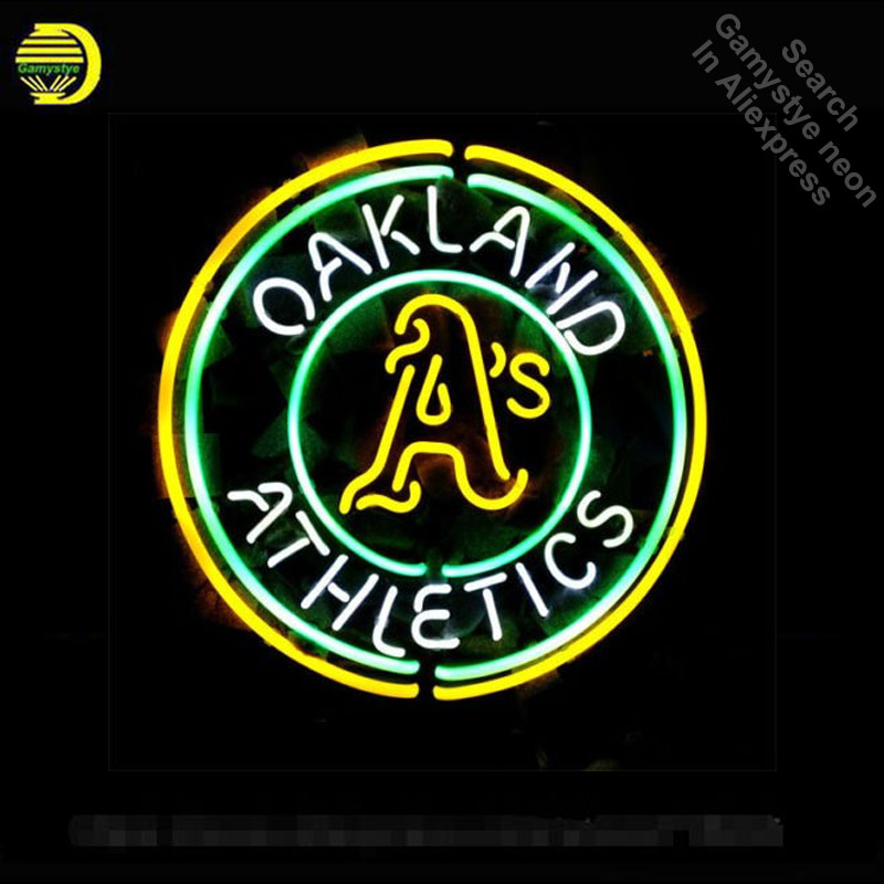 Neon Sign for Sports Teams OA neon bulb Sign OAKLAND Neon lights Sign glass Tube Iconic Custom Night Light work Shop Display