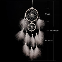 North American style creative dream catcher wind chimes white up and down double ring feather ornaments handmade