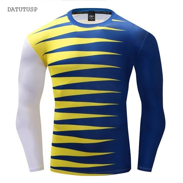 4ba20623b715 DATUTUSP White Print Yellow And Blue Striped Men s 3D Long Sleeve T-Shirts  Casual Slim Thin Tracksuit Cooling Basic Tee Shirts