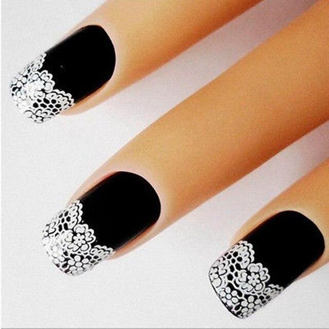 1 unds/pack Venta caliente de moda de encaje de flores blancas 3D pegatinas de Arte de uñas autoadhesivas decoración de uñas