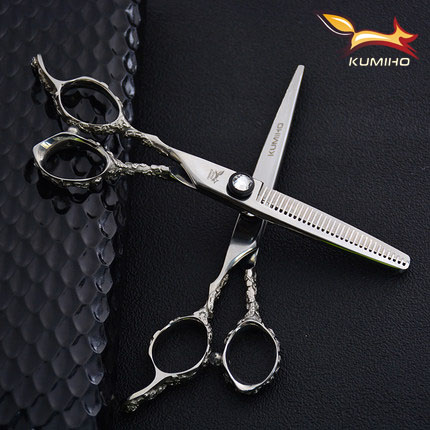 KUMIHO lefty hair scissors for professional barber 6 inch hair cutting scissors and thinning scissors left handed shear kasho 5 5 inch golden hair scissors hairdressing shear professional barber scissors hair cutting thinning shear set hairdresser