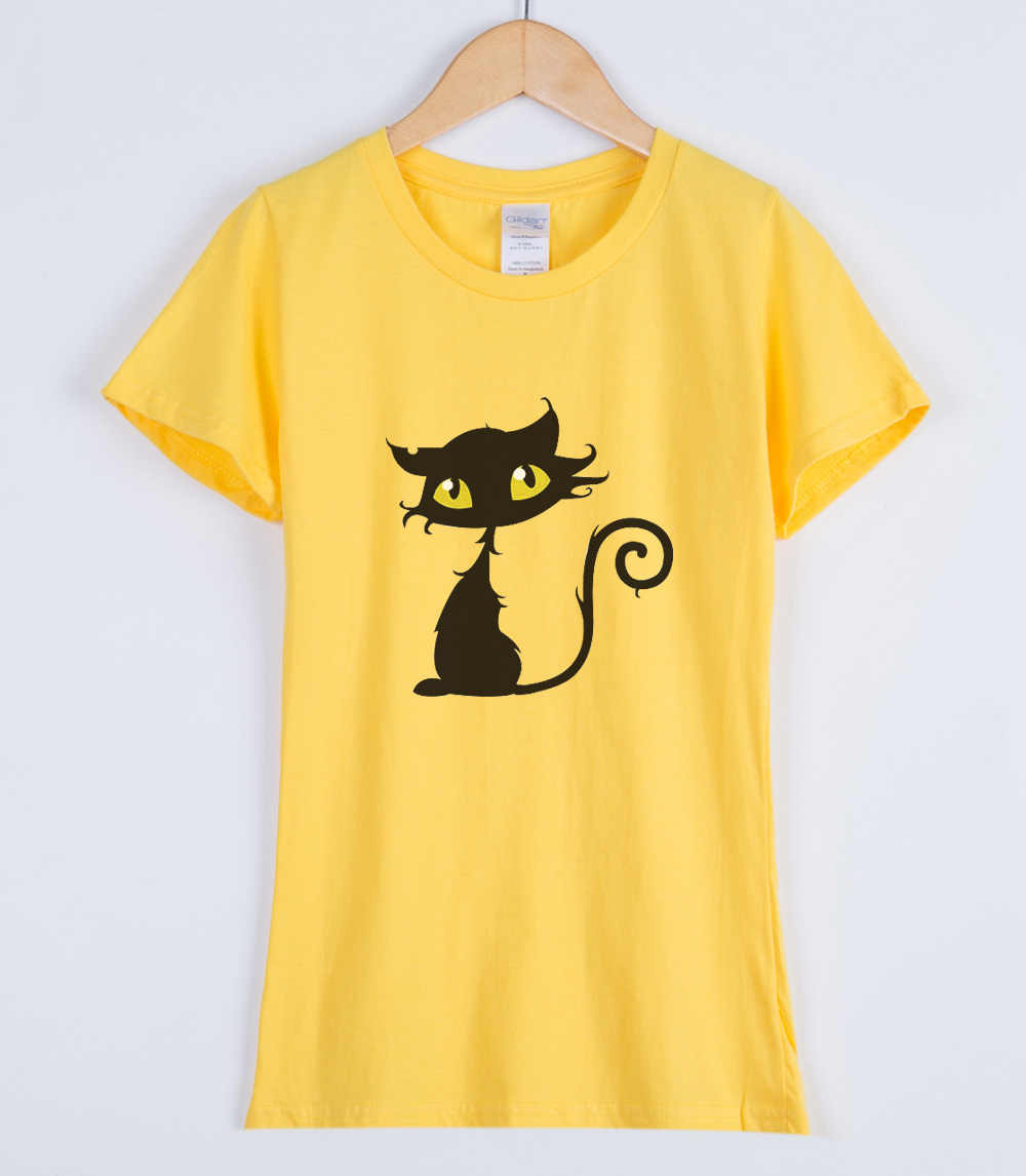 2019 vrouwen T-shirts KAT Cartoon Gedrukt Korte Mouwen Merk Fashion Rock Punk Streetwear Vrouwelijke T-shirt Top Tees Shirt Kawaii