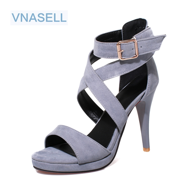 Women Sexy High Heel Sandals Female Ankle Strap Buckle Open Toe Shoes 2017 Ladies  Pumps size 31-43  six colors heel 10cm new arrivals women sandals fashion high quality high heel ankle open toe sexy double buckle thin heel wedding shoes big size 10