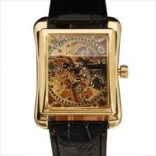 Nova Moda Marca Vencedor Homens Mecânica Mão-Vento Esqueleto Clássico Carving Dial Pulseira de Couro relógio de Pulso Masculino Relógio de Presente Elegante