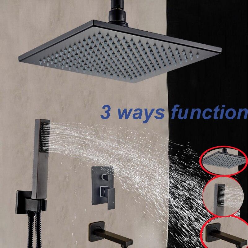 Square Rain Shower Head Tub Spout Hand Shower Sprayer Oil Rubbed Bronze