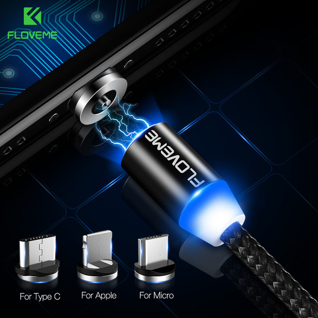 FLOVEME LED Magnetic Cable For Lightning Micro USB Type C Phone Cable For iPhone X 7 6 Xiaomi 1m 2A Fast Charge Magnet Charger