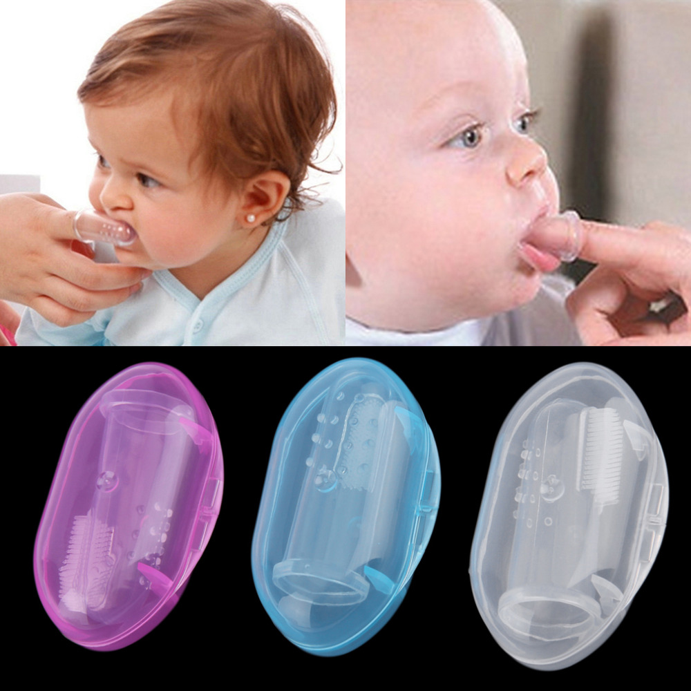 2Pcs Soft Safe Baby Toothbrushes Kids Silicone Finger Toothbrush Gum Brush For Children Dental Care Rubber Massager With Box