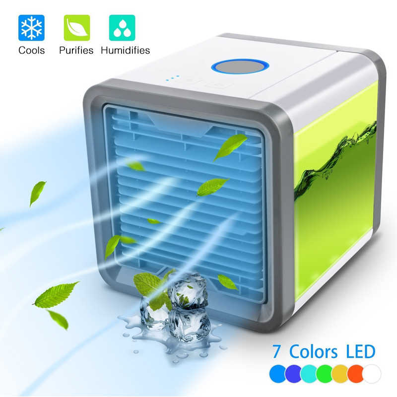Auto Air Cooling Fan Ingebouwde Led Lamp Mini Usb Draagbare Airconditioner Luchtbevochtiger Luchtreiniger Licht Luchtkoeler Fan tafel Bureau Home