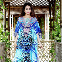 Women Beach Dress Kaftan Female Dresses Long Summer Blue Leopard Print Wear Casual Sundress Boho Clothing For Trendy 2019 Frocks