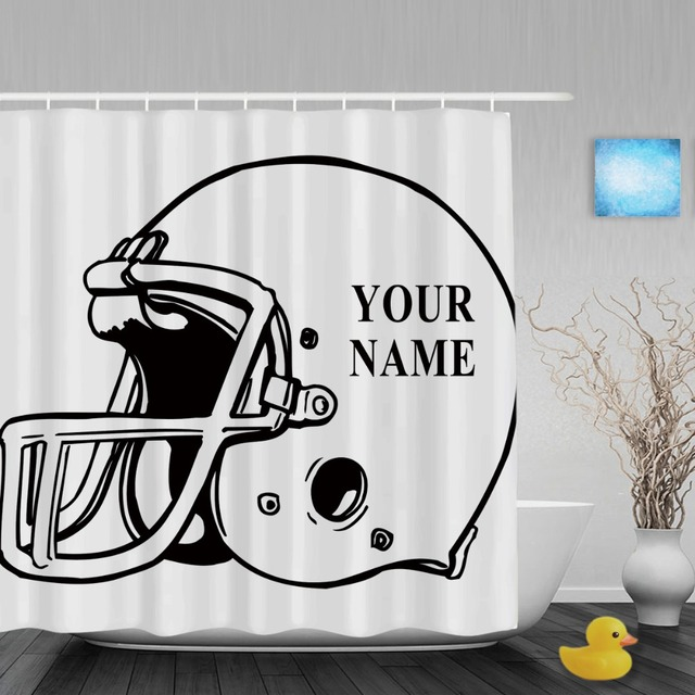 Superior A Football Helmet Shower Curtain Customize Your Text Bathroom Shower  Curtains Polyester Fabric With Hook