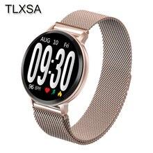 Tlxsa 스포츠 블루투스 피트니스 트래커 스마트 시계 방수 수면 심박수 혈압 모니터링 시계 안드로이드 ios