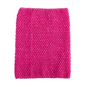 Вязаный топ-труба 9x10 дюймов, топ-пачка для маленьких девочек, вязаная юбка-американка топ-пачка, вязаная крючком повязка на голову, смешанные цвета, 10 шт. в партии - Цвет: Hot pink 10pcs