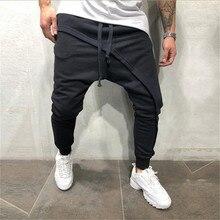 men pencil trouser Men Asymetric Layered Jogger Pants Hip Hop Streetwear Jogger Pants Casual Drawstring Close Bottom Pants цена