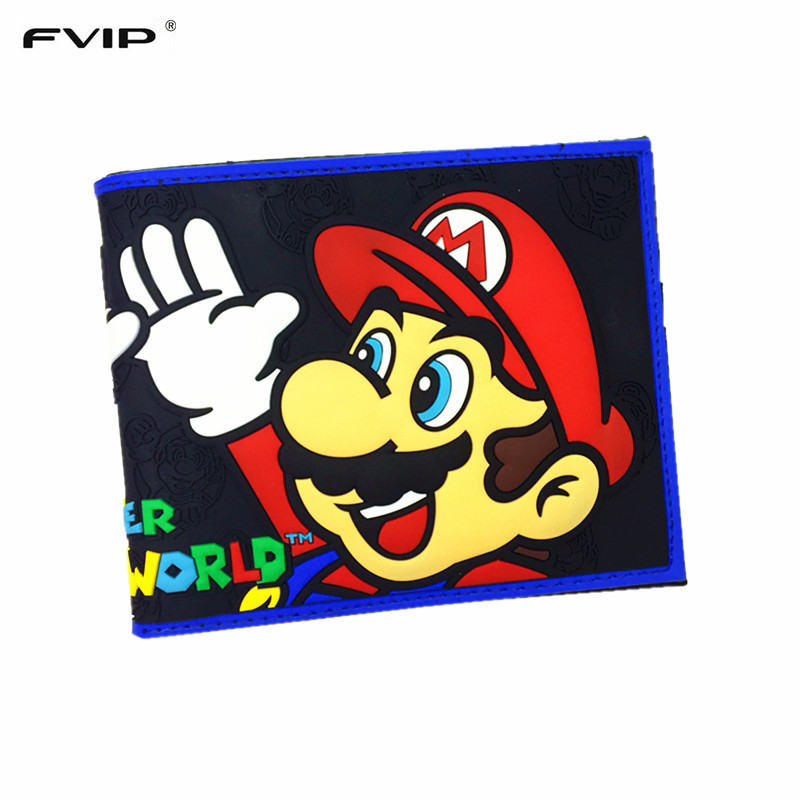 FVIP Comics Wallet Super Mario Dc Marvel the Avengers Batman Flash Superman 3D Purse Logo Credit Card Holder Man Wallet брелок dc comics batman logo