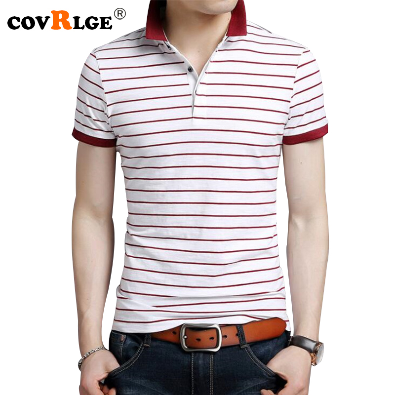 Covrlge 2018 Summer Men Polo Shirt Fashion Business Casual Male Polos Striped Tee Shirt for Man
