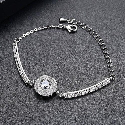 Luoteemi Brand Link Bracelet Сердца и стрелы хрусталя циркон браслет для женщин высокое качество ссылка браслеты оптом - Окраска металла: Платиновое покрытие