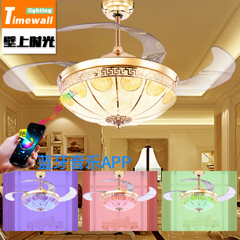 Bluetooth music European hidden ceiling fan lamp fan dining room living room home remote control live fan Chandelier simple crystal hidden ceiling fan lamp restaurant fan room living room bluetooth music live fan lamp home romance
