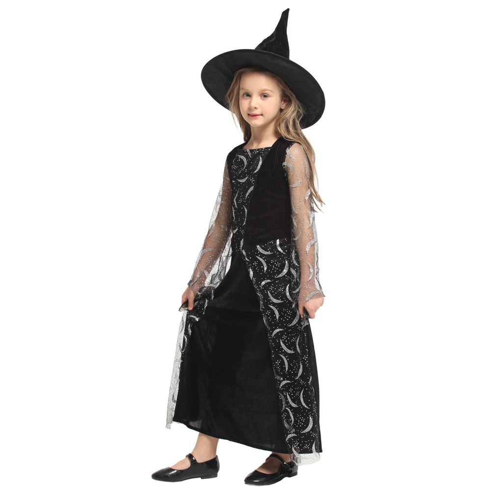 Lovely Mesh Silver Moon Witch Girl Sorceress Costume for Girls Child Halloween Carnival Party Mardi Gras Fancy Dress G 0304 in Girls Costumes from Novelty Special Use