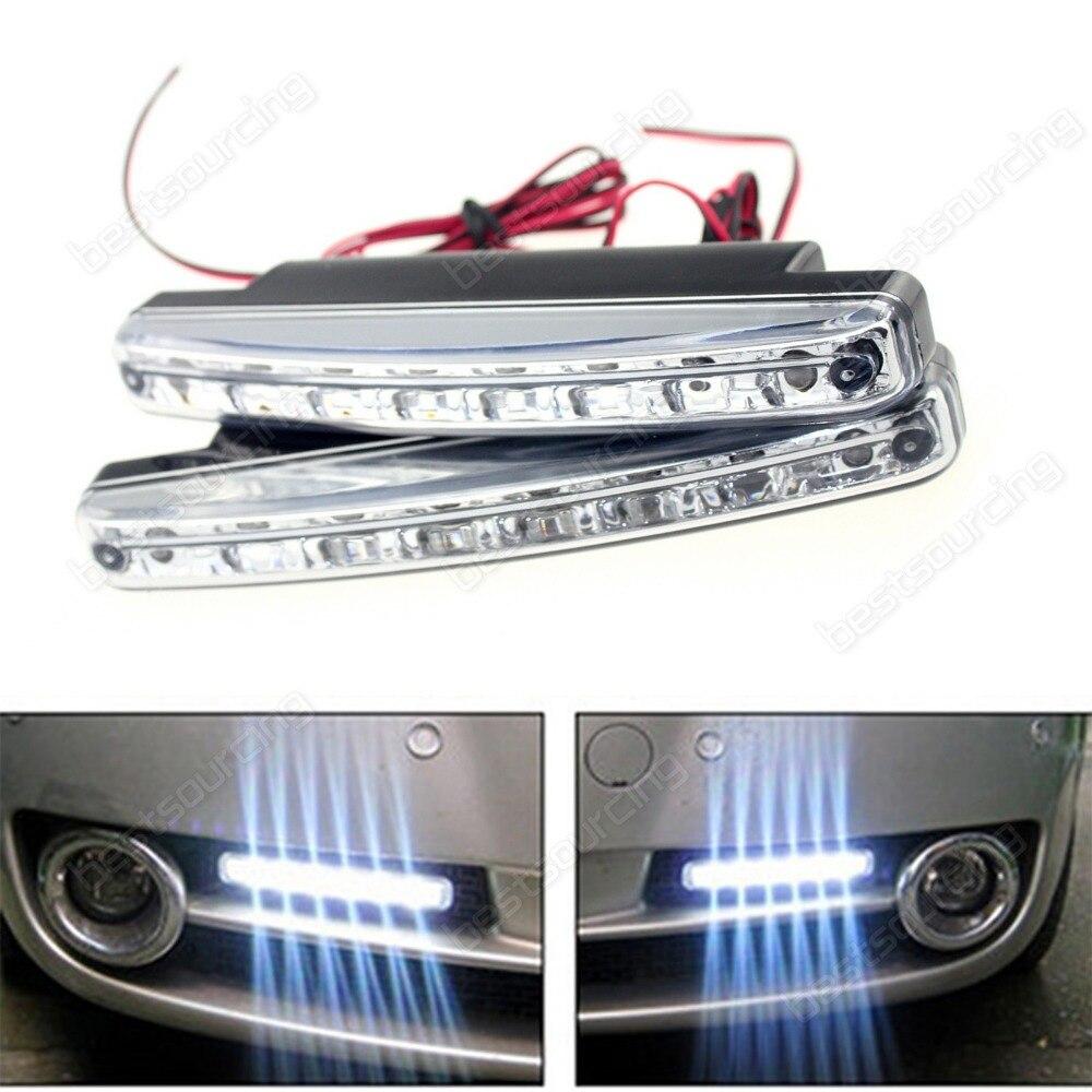 2шт/комплект Белый 8led Универсальный Тип DRL светодиодные дневные ходовые свет CA001)