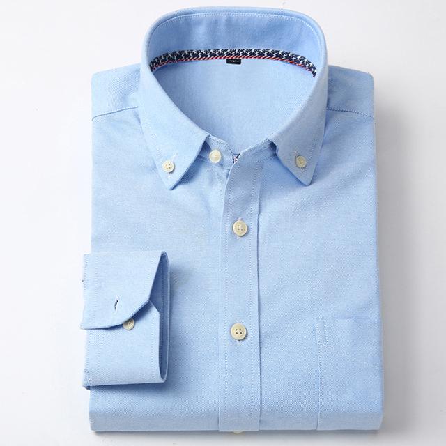 Otoño 2016 de Los Hombres Jóvenes de Manga Larga Sólido Camisas de Vestir de Negocios Oxford Casual Classic-fit Hombres Mezcla de Algodón botón Abajo Camisa