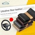 DIY Durável Antiderrapante Tampa Da Roda de Direcção Do Carro/Com Agulhas e Linhas de fibras ultrafinas de alta qualidade de couro 38 cm