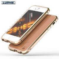 For IPhone SE Case Luphie Luxury Ultra Thin Aluminum Metal Bumper Frame Leather Back Skins Phone
