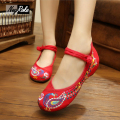 New buckle strap design Peacock embroidery chinese shoes women flats Nature cotton linen women shoes casual ballet flats shoes