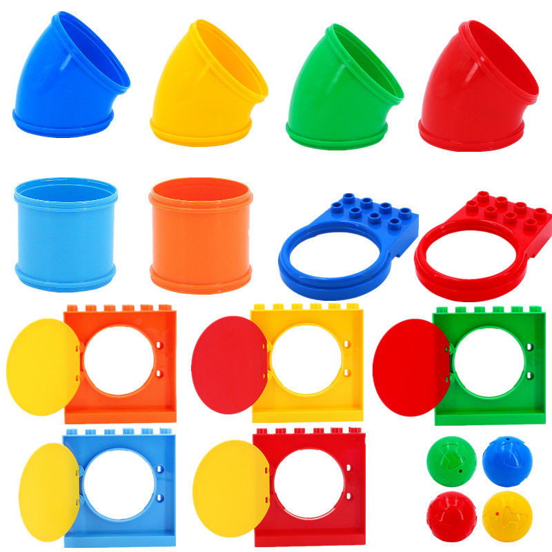 Slide in Tube Building Blocks Compatible With Duploe Playground Games Assemble Slide Curve Straight Pipe Ball Bricks Toys Kids(China)