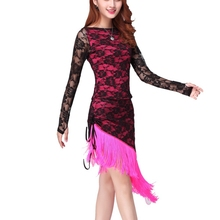 Top Latin Dance Dress Women Tassel Elegant Sexy Tango Dress Ballroom Lovely Stage Dance Costumes Lace Latin Dancewear