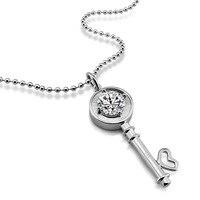 12mm ciondolo zircone. Solid argento big key pendente della collana di Modo 925 sterling silver donna lunga collana. Lady gioielli in argento